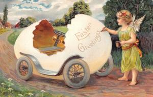 EAS Easter Fantasy~Lime Gossamer Angel Girl Decorates Egg Car~Embossed~Germany