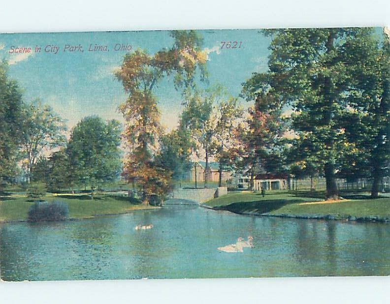 Unused Divided-Back PARK SCENE Lima Ohio OH hk8932