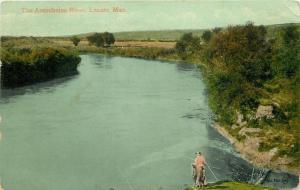 Lazare Manitoba~Assiniboine River~Lady in Pink Fishing Off Bank~1915 Postcard