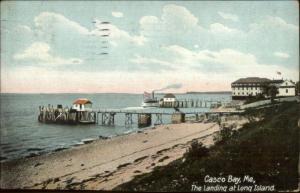 Casco Bay ME Long Island Beach & Pier c1910 Postcard