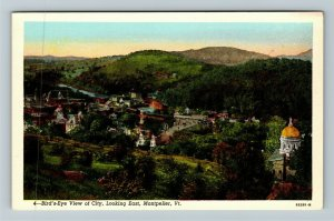 Montpelier VT- Vermont, Aerial View, City, Looking East, Chrome Postcard