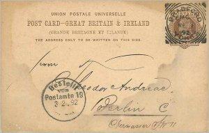 Entier Postal Stationery Postal Great Britain Great Britain 1892 Bradford to ...