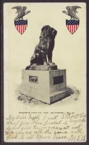 Barye Statue,Mt Vernon Place,Baltimore,MD Postcard