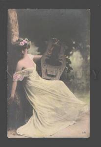 094490 Semi-Nude Woman FAIRY w/ Lyre HARP old PHOTO tinted