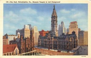 City Hall, Philadelphia, Pa. Masonic Temple in Left Foreground