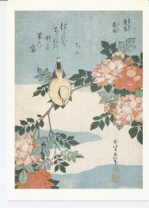 Postal 045852 : Hokusai. Usignolo e rose. Berlino Staatliche Museen