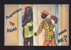 BLACK AMERICANA NUDE WOMAN NEGRO MAN VINTAGE LINEN CURT TEICH POSTCARD