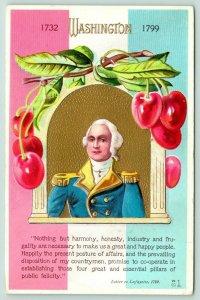 Patriotic~George Washington~Letter to Lafayette~Cherry Portrait~RWB~NASH W-7