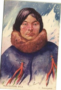 PC CPA SAMOA, PACIFIC, MUSCULOSINE BYLA, SAMOYÉDE, Vintage Postcard (b19422)