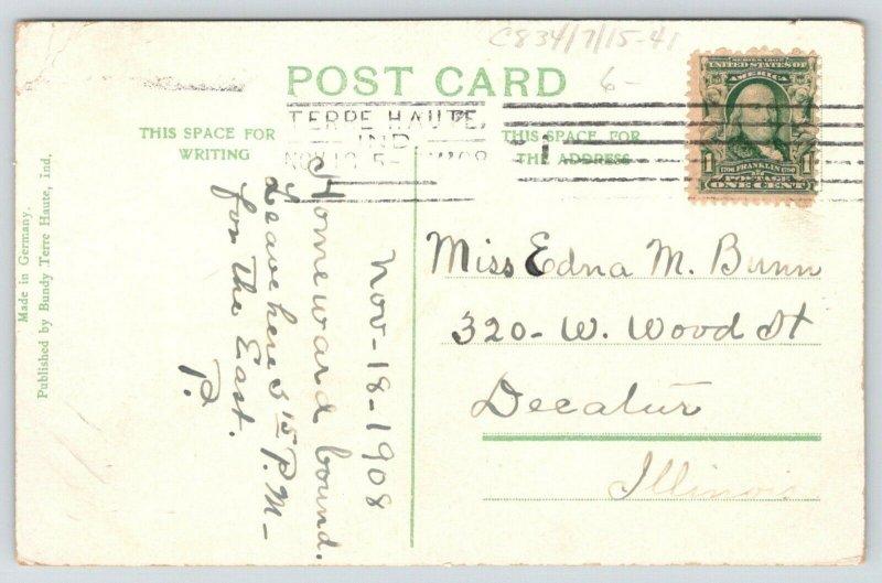 Terre Haute Indiana~Big 4 Passenger Station~Railroad Depot~Men on Corner~1908