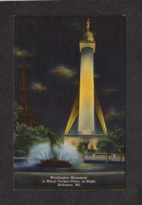 MD Washington Monument Mt Vernon Place Baltimore Night Maryland Postcard