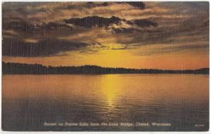 Sunset on Prairie Lake from the Long Bridge, Chetek, Wisconsin, unused Postcard
