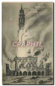 Old Postcard Arras City Hall and the Belfry fire by the Germans