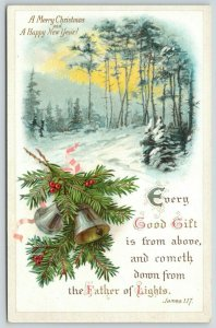 Christmas Calligraphy~Bells Pine Berry~Bible Verse~James 1:17~Every Good Gift