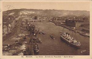 Steamer, Bridge, La Seine- Arrivee Du Paquebot Saint-Briac, Rouen (Seine Ma...