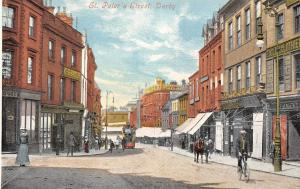 Derby, St. Peter's Street, tramway tram bicycle bike commerce, Tailor Clothier