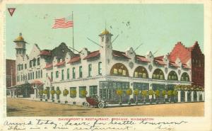 Davenport's Restaurant, Spokane Washington UDB 1907 Postcard, U S Flag, Old Car