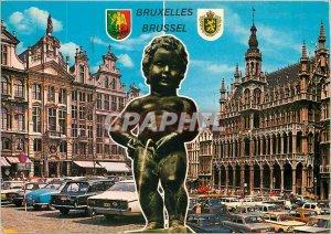 Modern Postcard Greetings from Brussels Manneken Pis