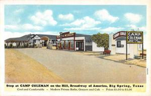 Big Spring Texas Camp Coleman Street View Antique Postcard K59910