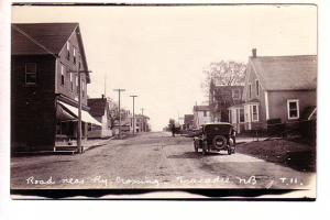 Road Near, Railway Crossing, Tracadie, New Brunswick,  Real Photo T 11, Car w...