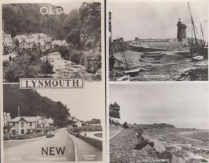Fishing Boats at Lynmouth Devon 1953 Real Photo 2x Postcard