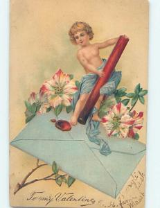 Pre-Linen CUPID FIGURE STANDING ON ENVELOPE WITH FLOWERS ho3804