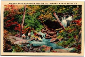 Hikers Resting Rainbow Rocky Spur Trail, Great Smoky Mountains Vtg Postcard Y02