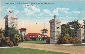 Missouri Kansas City Entrance To Beautiful Swope Park Showing The Shelter House