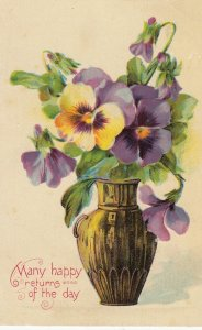 Pansy Flowers , Many happy returns of the Day , 1910