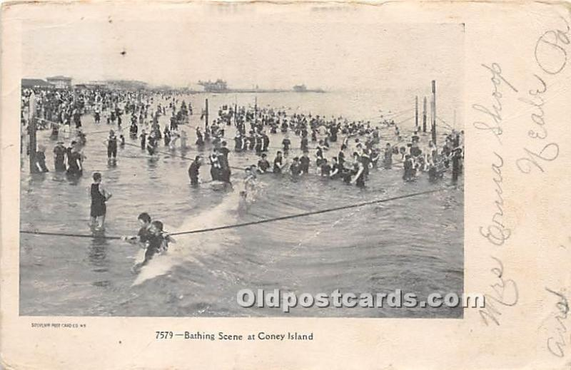 Amusement Park Postcard Post Card Bathing Scene Coney Island, New York, NY, U...