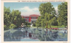 Ohio Columbus Mirror Lake and Campbell Hall Ohio State University Curteich