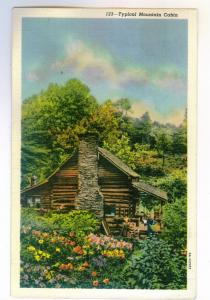 Sanford, North Carolina to Waukegan, Illinois 1940 used linen PC, Mountain Cabin