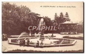 Old Postcard Lucon The public garden pond