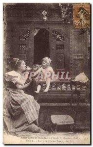 Old Postcard Brittany Folklore Beds Clos The first Becquee
