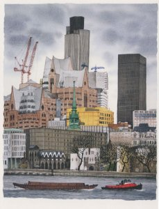 Cranes Construction by Boats London Natwest Tower Painting Postcard