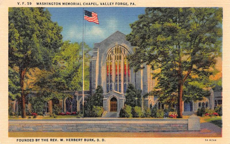 Washington Memorial Chapel, Valley Forge, PA., Early Linen Postcard, Unused