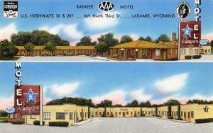 RANGER MOTEL Lincoln Highway Roadside Wyoming LARAMIE WY Postcard ca 1950s