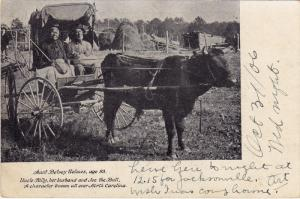 Black Woman in Ox Cart , Aunt Betsey Holmes age 93 , Raleigh , North Carolina...