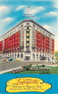 Buffalo New York~Floral Corner by Hotel Lafayette~1950 Art Deco Postcard
