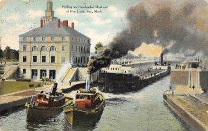 LP56   Soo   Michigan  Postcard Poe Lock tug boats