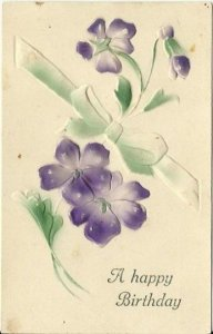 Purple Violets Heavily Embossed Air Brushed around 1910 Happy Birthday Vintage
