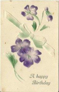 Purple Violets Heavily Embossed Air Brushed around 1910 Happy Birthday Vintage