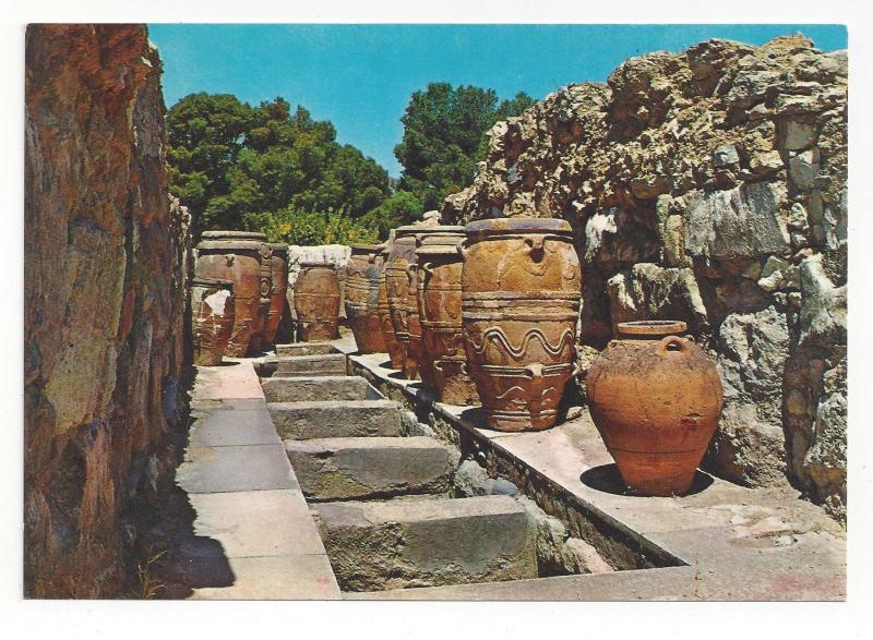 Greece Crete Knossos Palace Magazines StoresPottery West Court Vtg Postcard 4X6