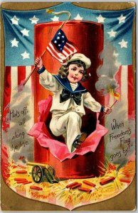 1908 FOURTH OF JULY Patriotic Postcard Boy in Sailor Suit U.S. Flag Firecrackers