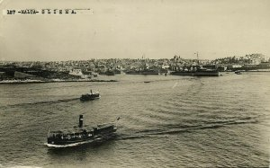 malta, SLIEMA, Harbour Scene, Cruisers (1932) RPPC Postcard