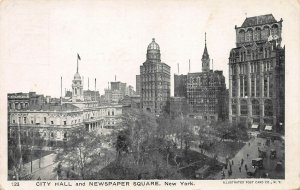 City Hall and Newspaper Square, Manhattan, New York City, Early Postcard, Unused