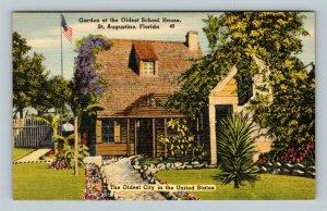 St Augustine FL, Garden At Oldest School House, Linen Florida Postcard