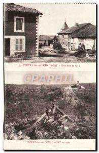Old Postcard Fleury-devant-Douaumont in 1914 A Street Militaria