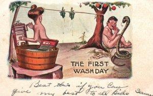 Vintage Postcard 1907 The First Wash Day By H. H. Tammen Denver Artwork