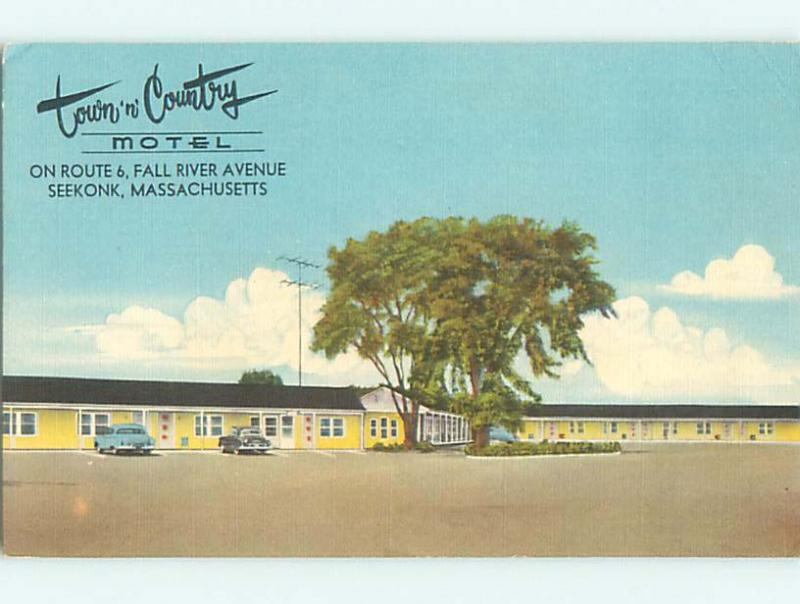 Unused Linen OLD CARS & TOWN AND COUNTRY LODGE MOTEL Seekonk MA u8301